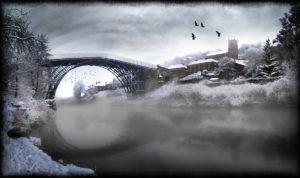 Ironbridge in the snow with Sabina