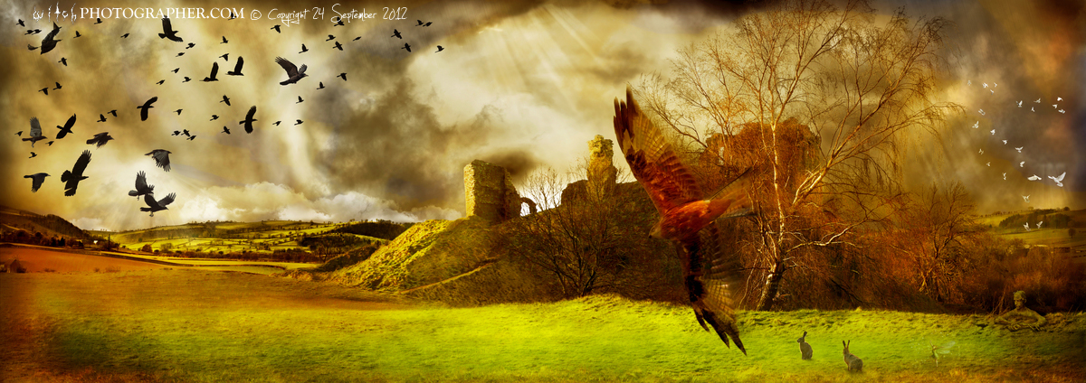Clun Castle with the witch and the greenman and a red kite