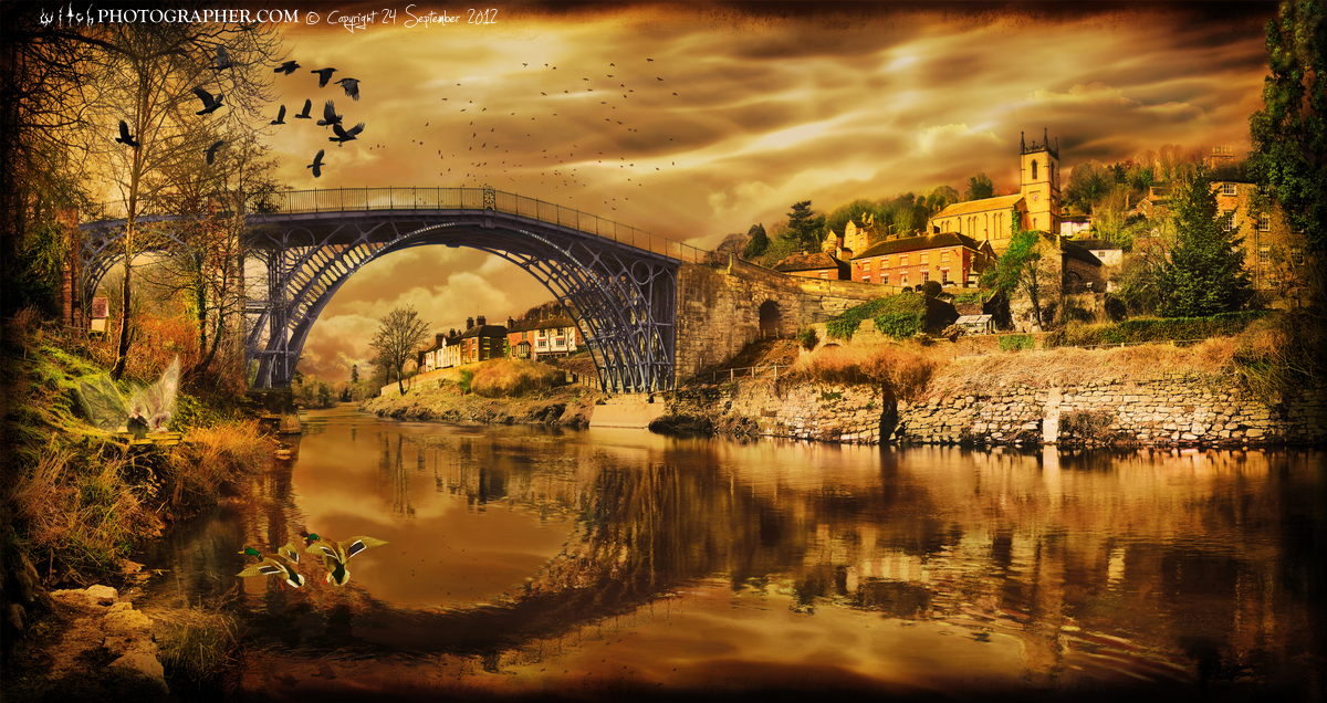 Ironbridge with two fairies and Sabrina the goddess of The River Severn