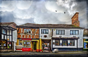 Much Wenlock Book Shop and The Talbot Inn with sheep
