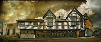 Much Wenlock Town Hall and Market with Nanny Morgan the witch