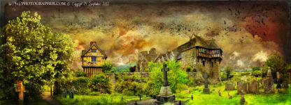 Stokesay Castle with the two giants and the last dragon