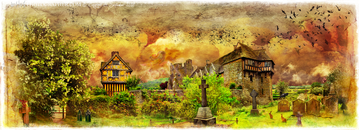 Stokesay Castle with the two giants with white borders