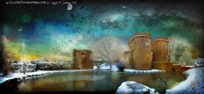 Whittington Castle at dawn with trolls fairies and Cailleach the Hag