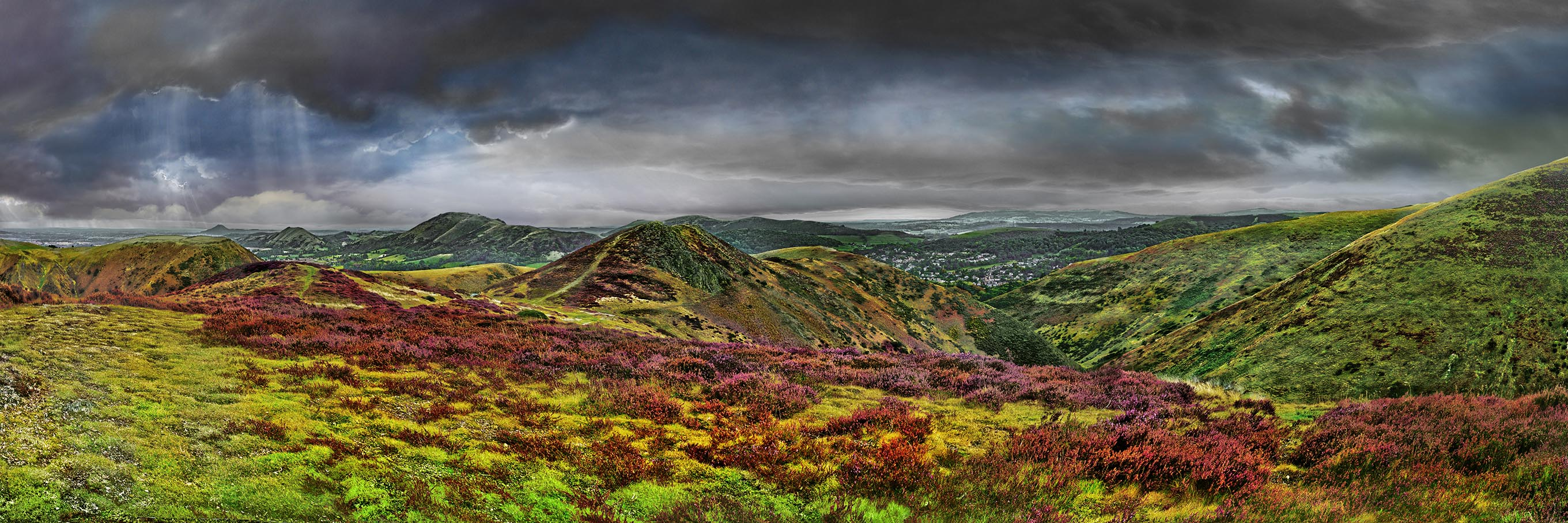 Long Mynd view over Church Stretton fatter greyer