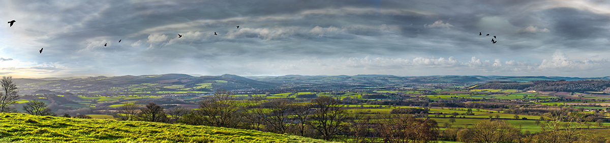 Ludlow view from Titterstone Clee - bright